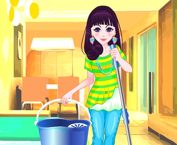 Cleaning Girl Dress Up Game